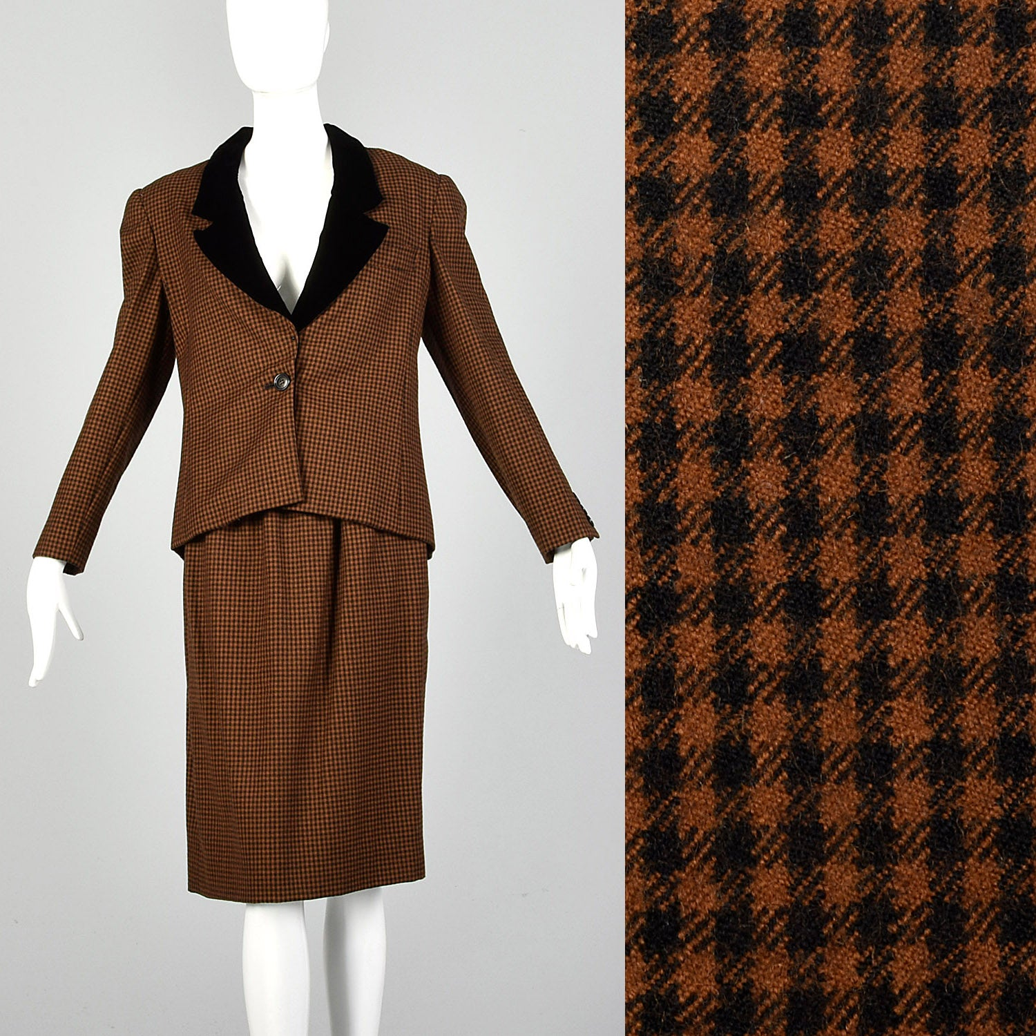 Small 1980s Oscar de la Renta Black and Brown Skirt Suit