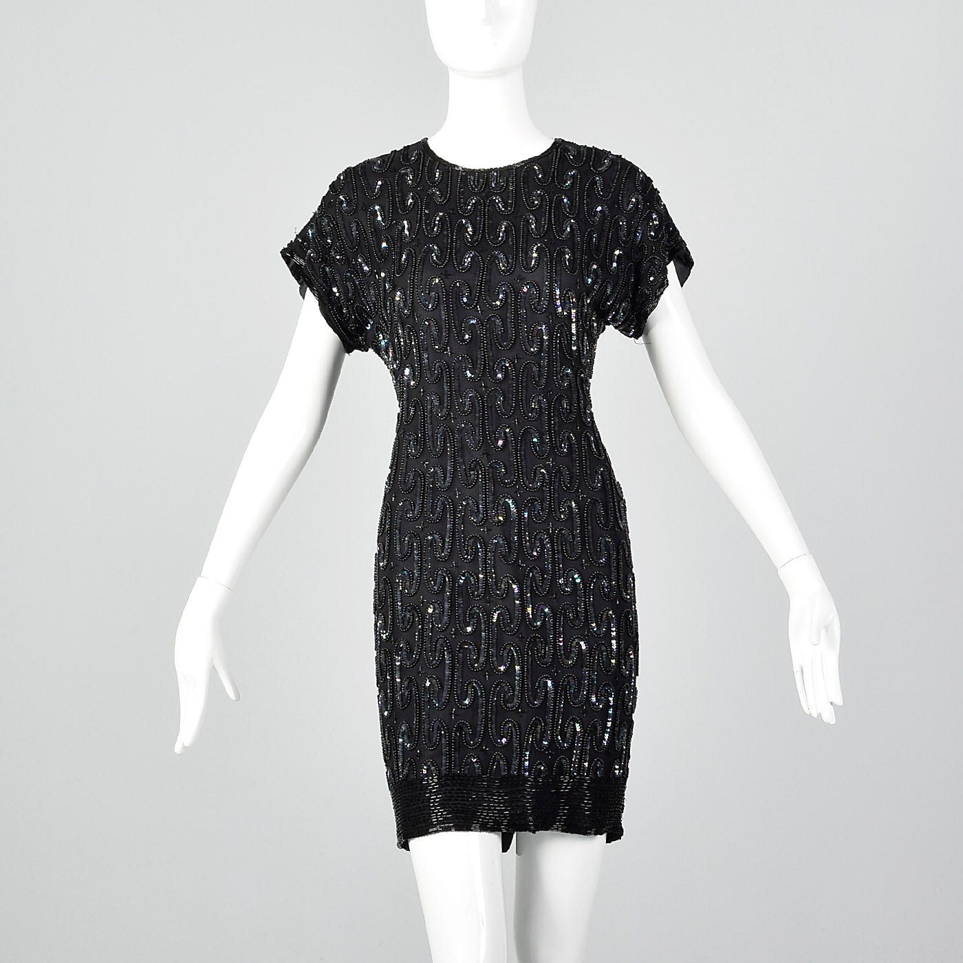 1990s Black Beaded Cocktail Dress