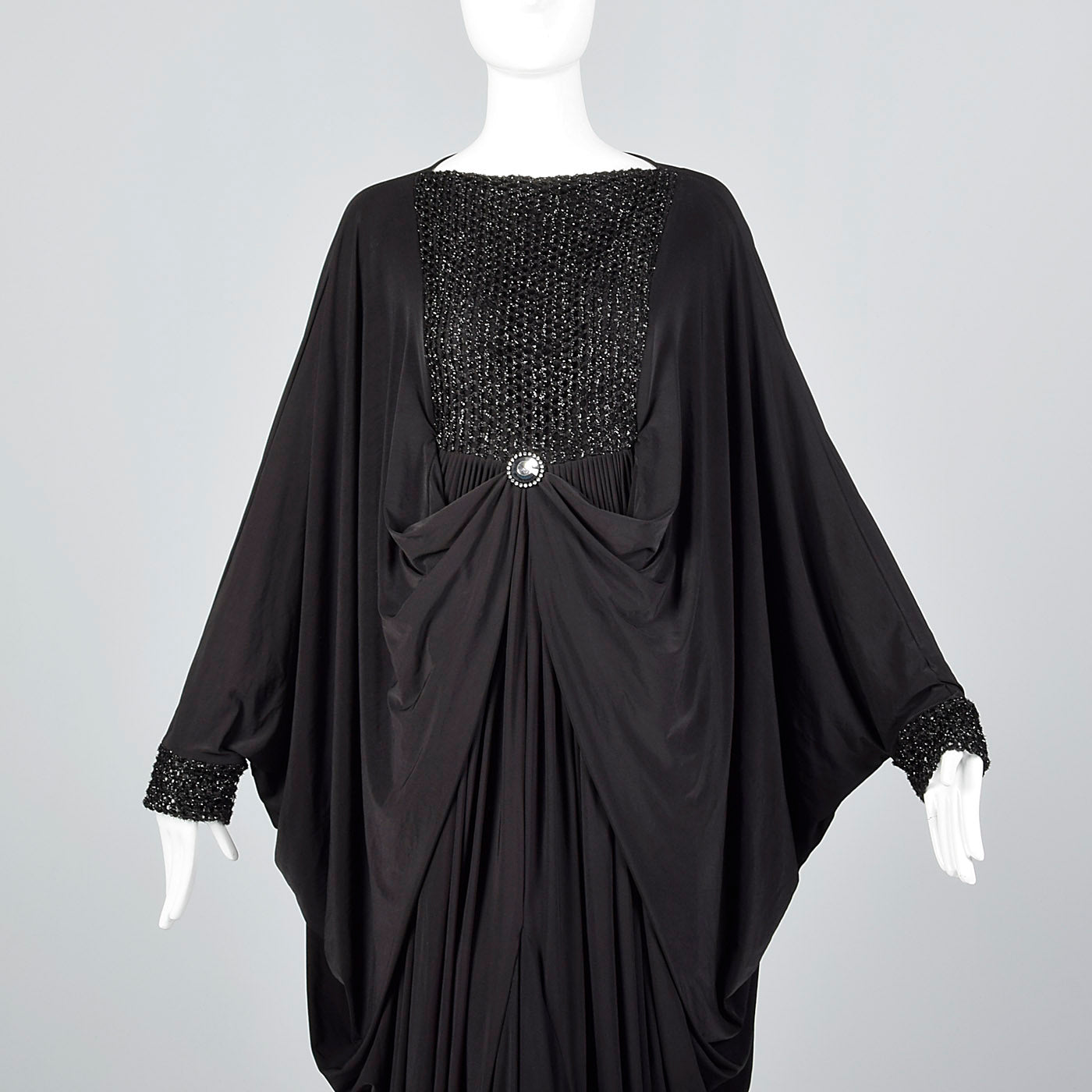 Extraordinary 1970s Black Jersey Cocoon Dress with Incredible Draping