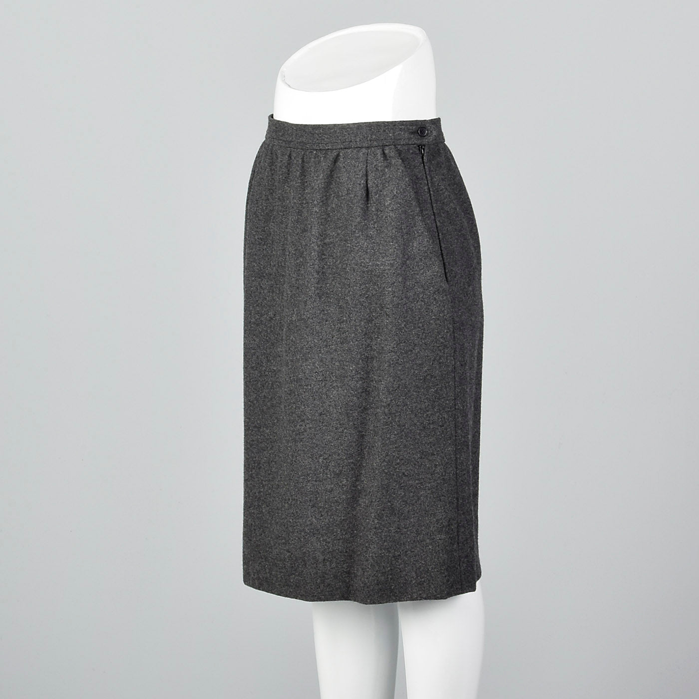 1970s Yves Saint Laurent Rive Gauche Gray Pencil Skirt with Pockets