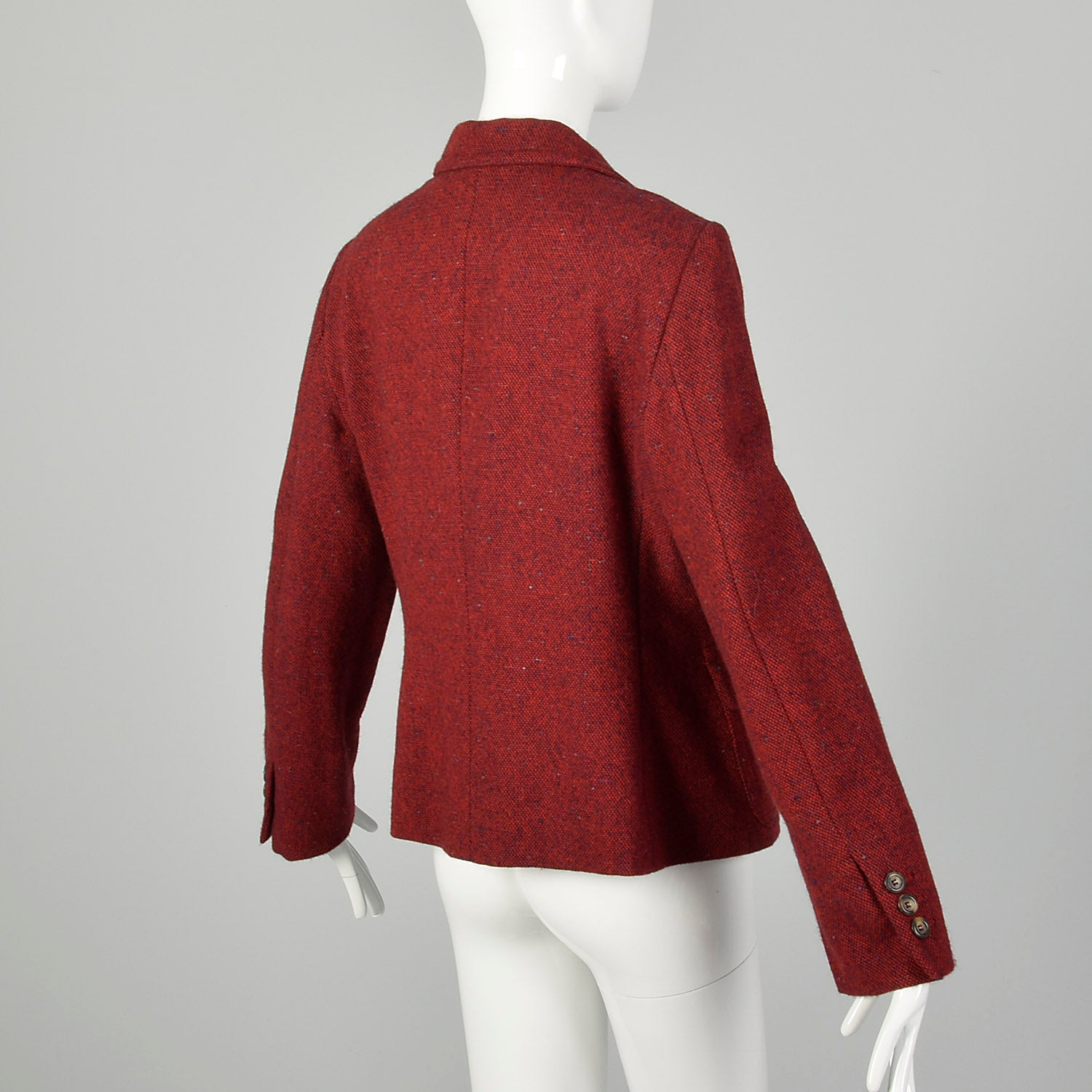Medium 2010s Red Blazer Moschino Cheap & Chic Wool Tweed Yarn Flower Corsage Applique Jacket