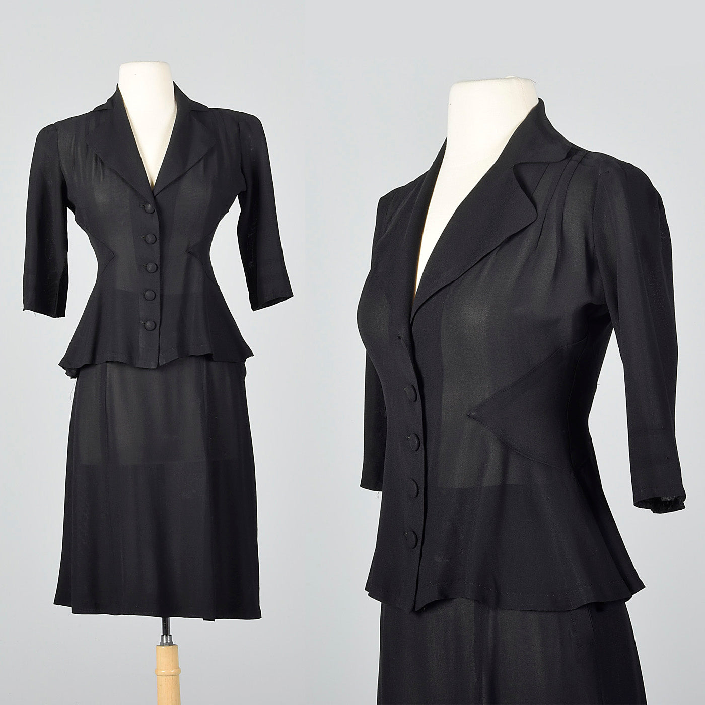 1940s Sheer Black Skirt Suit