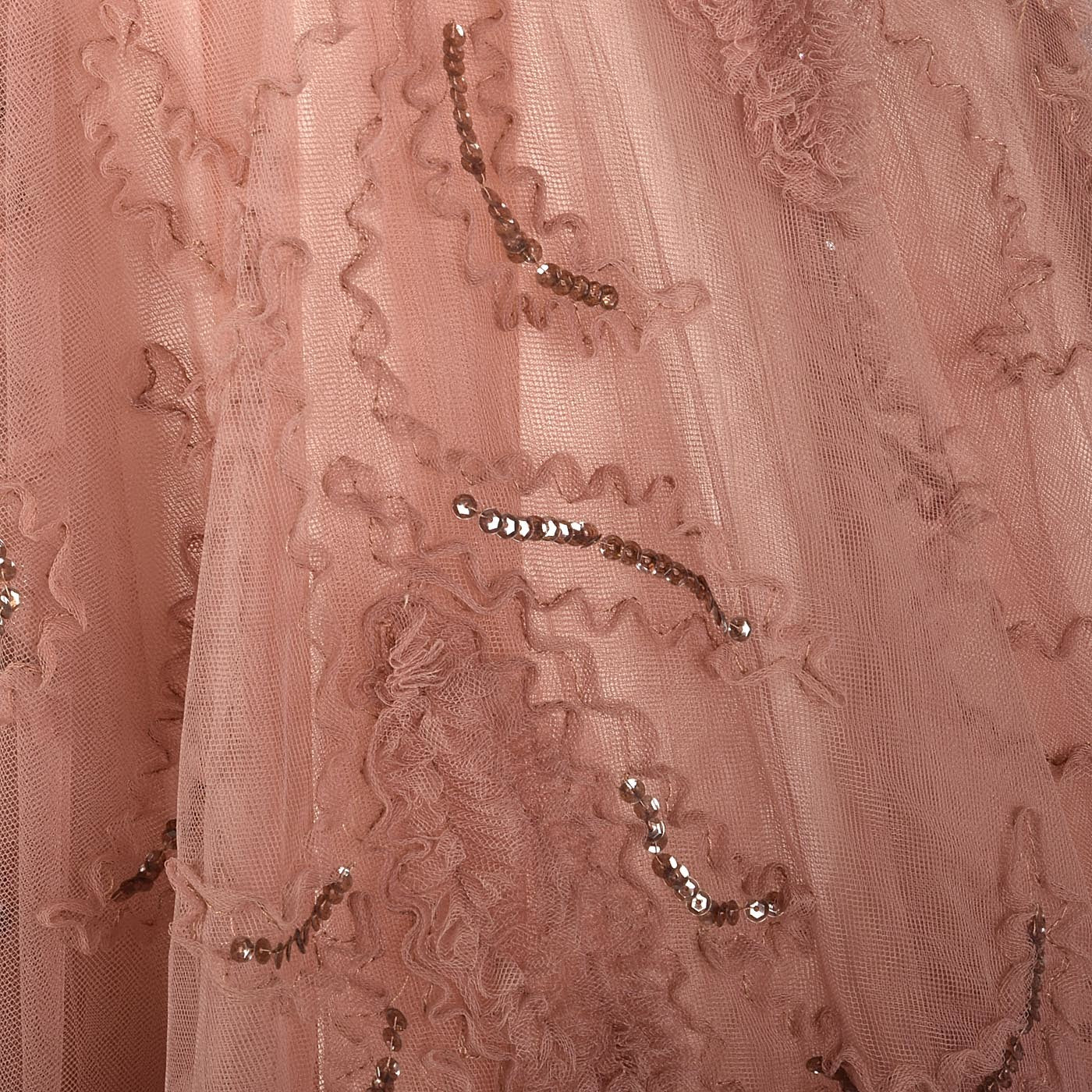 Ethereal 1950s Blush Tulle Evening Gown with Sequin Details