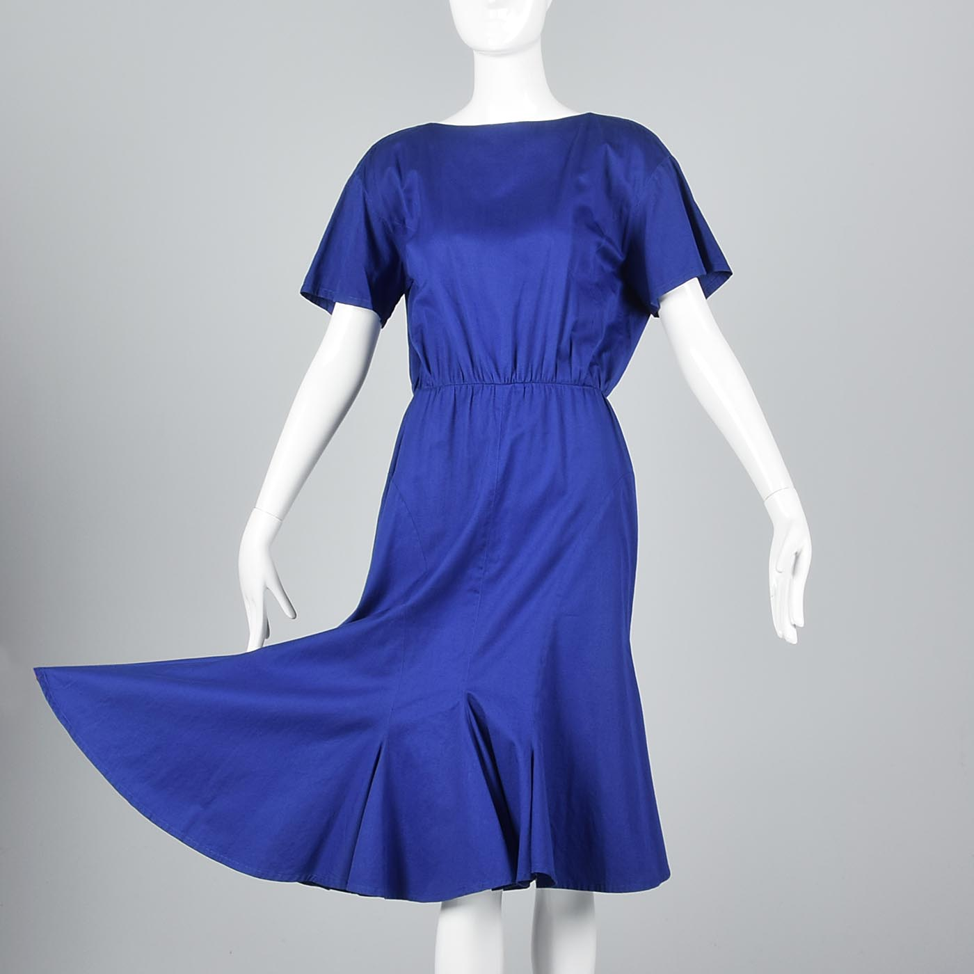 1980s Thierry Mugler Royal Blue Cotton Summer Dress with Asymmetric Hem