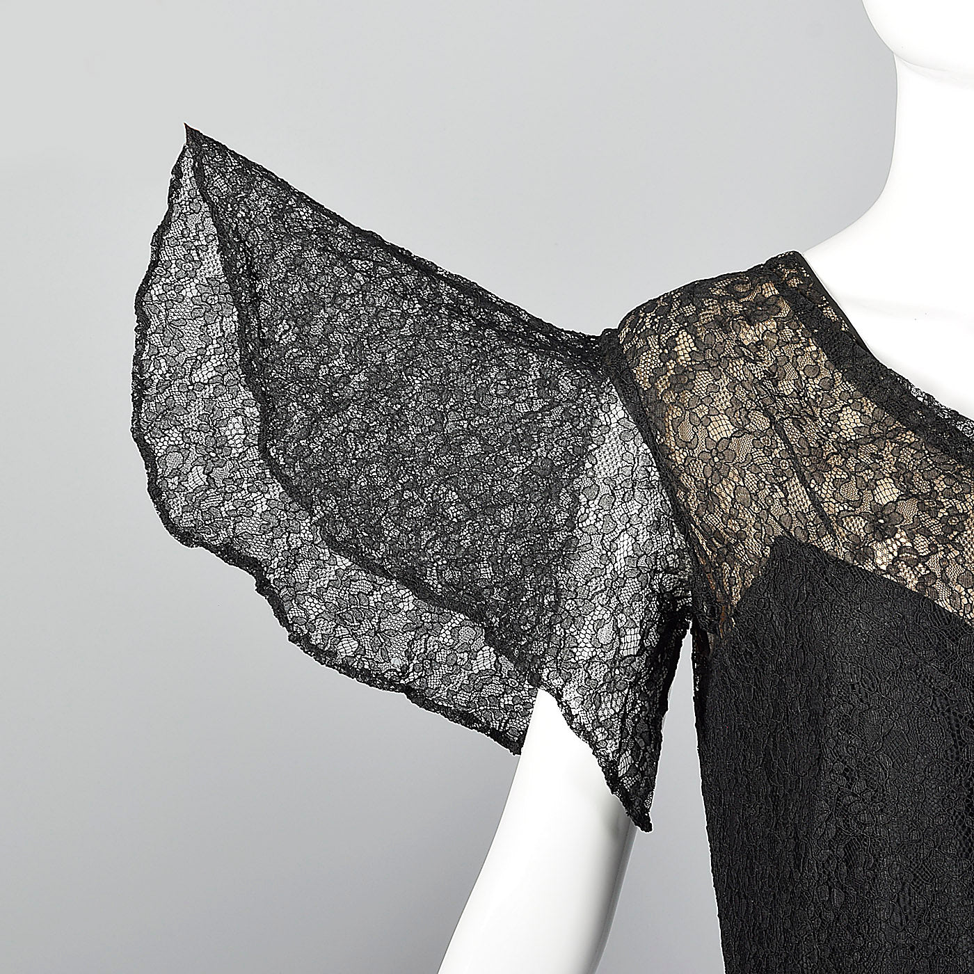 1930s Black Lace Overlay Dress