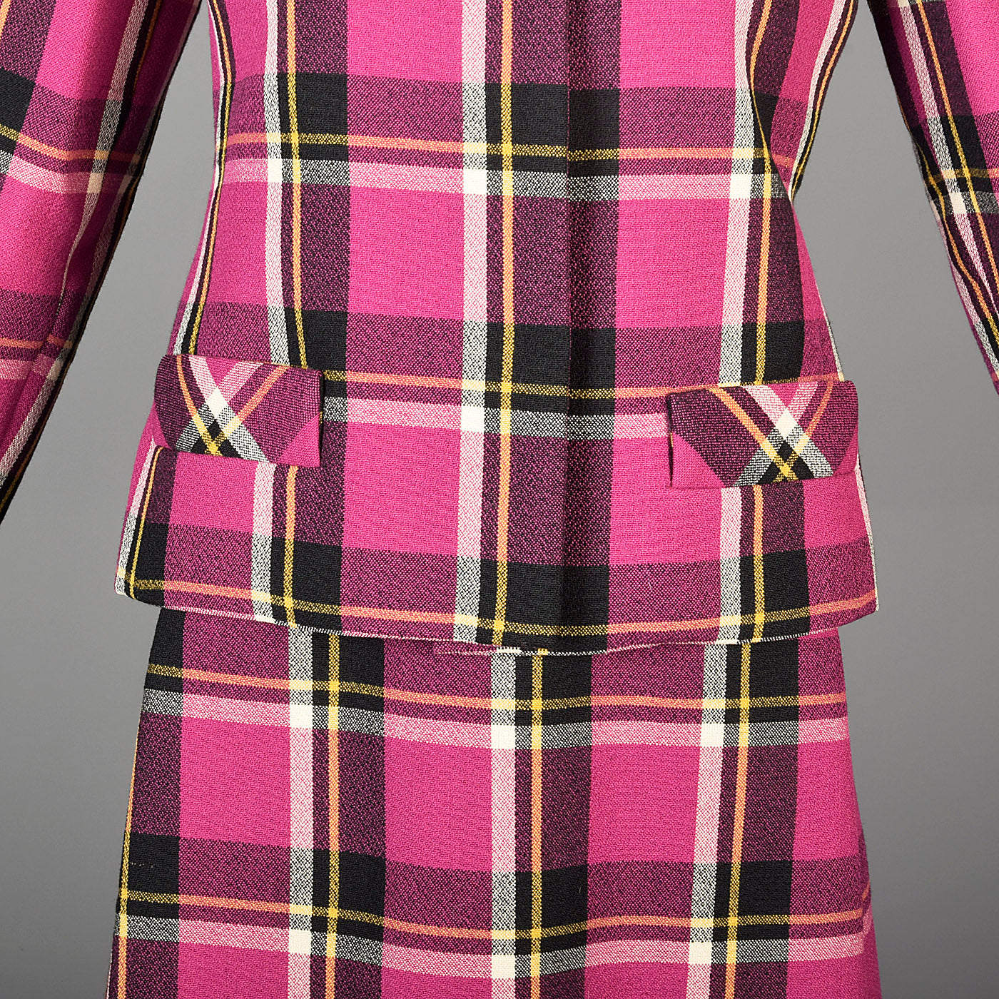 1960s Christian Mann for Marquise Plaid Two Piece Dress and Jacket Set