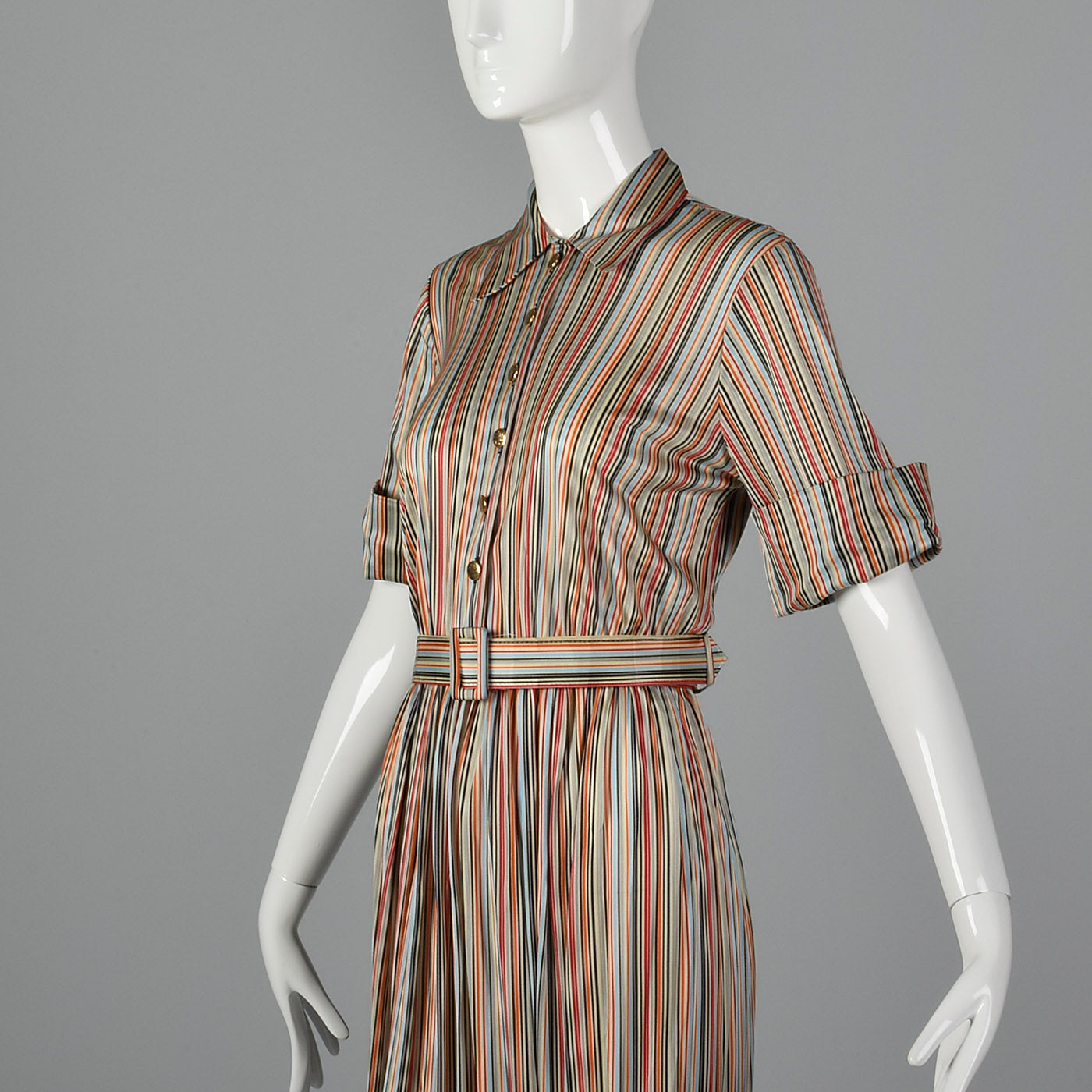 1940s Silky Knit Stripe Dress with Monogram Buttons