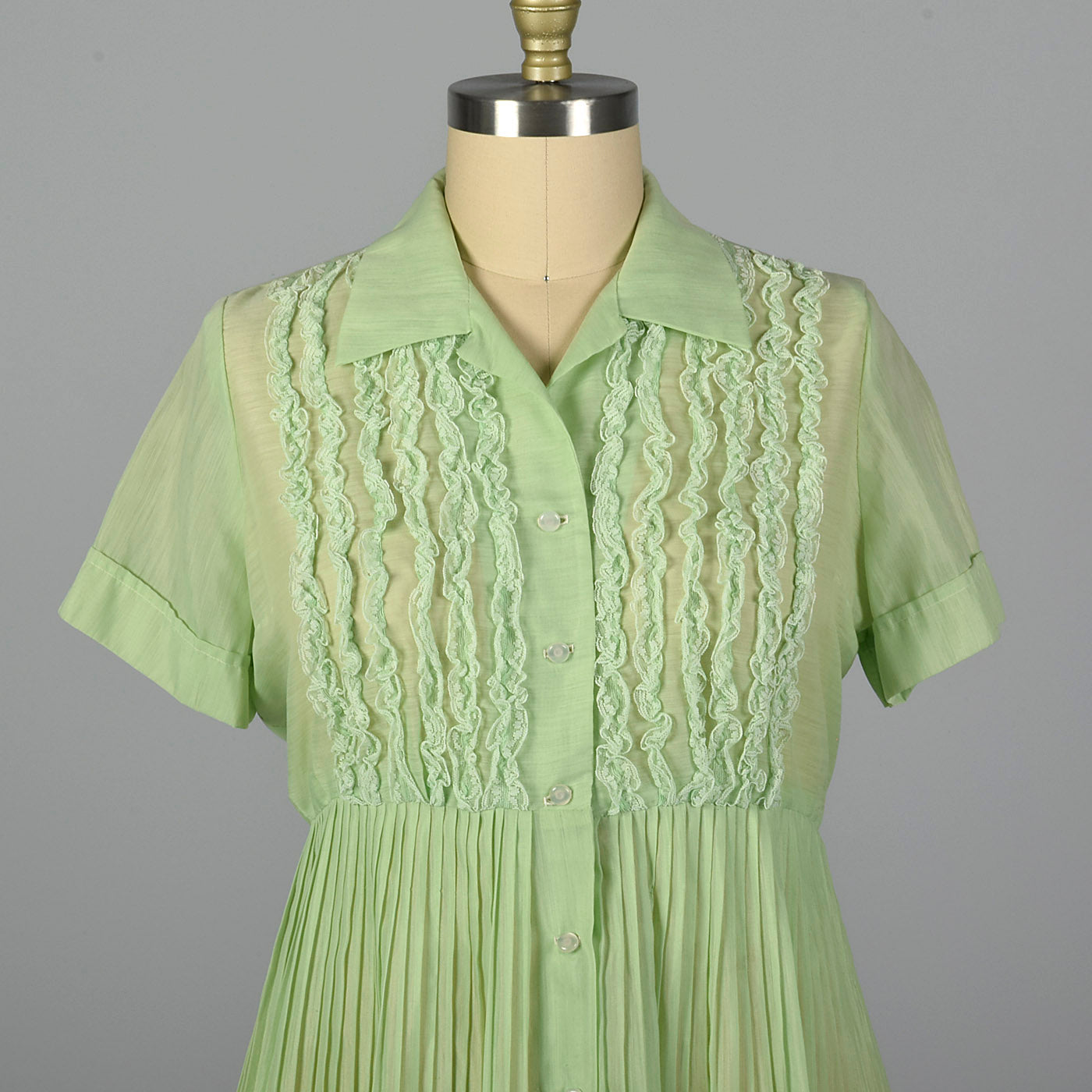 1950s Sheer Green Dress with Ruffle Bodice