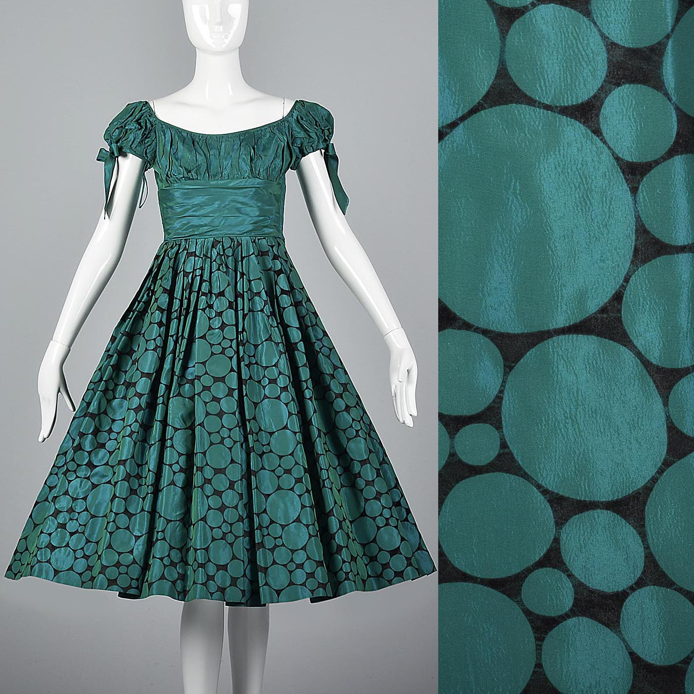 1950s Flocked Polkadot Party Dress
