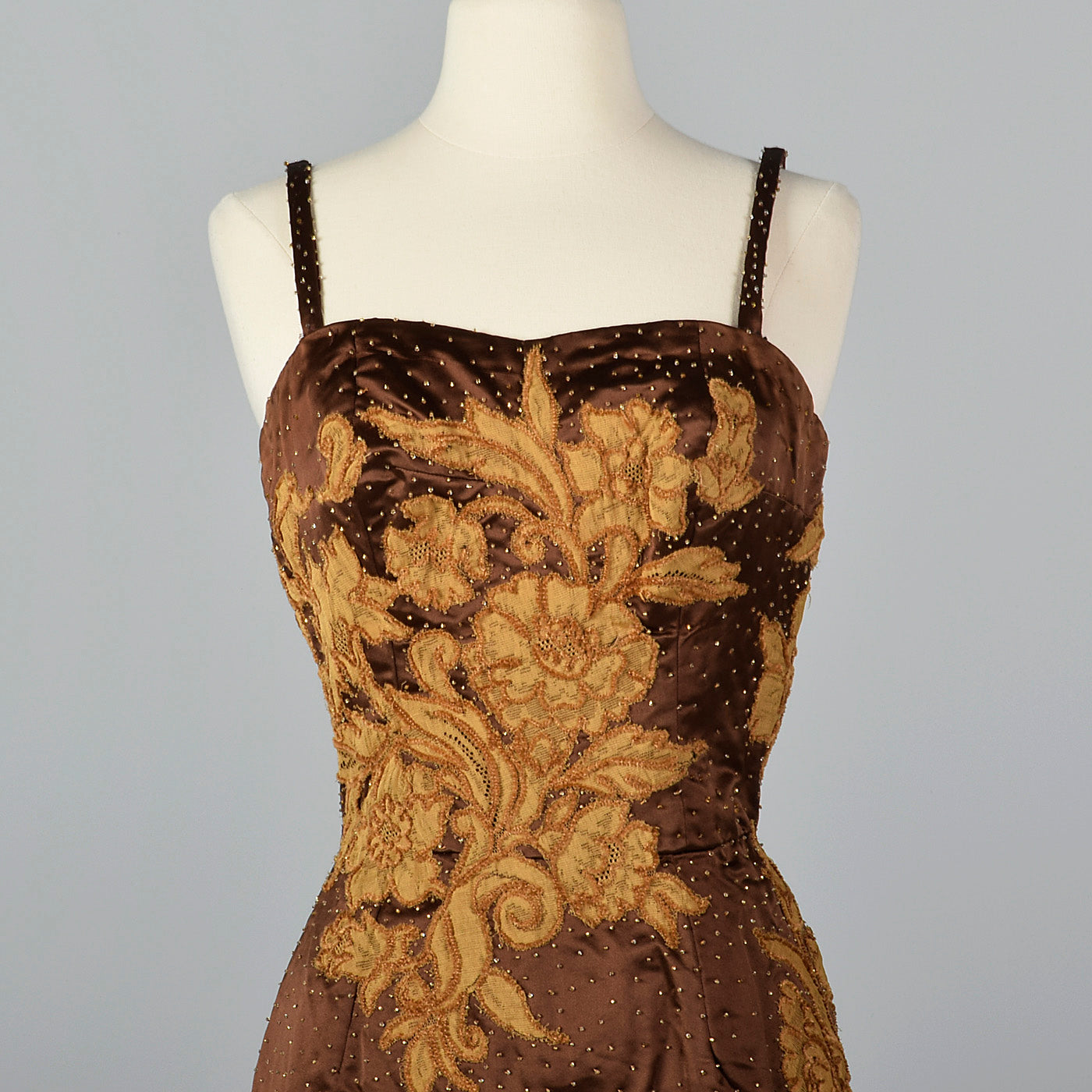 1950s Brown Dress with Lace Applique