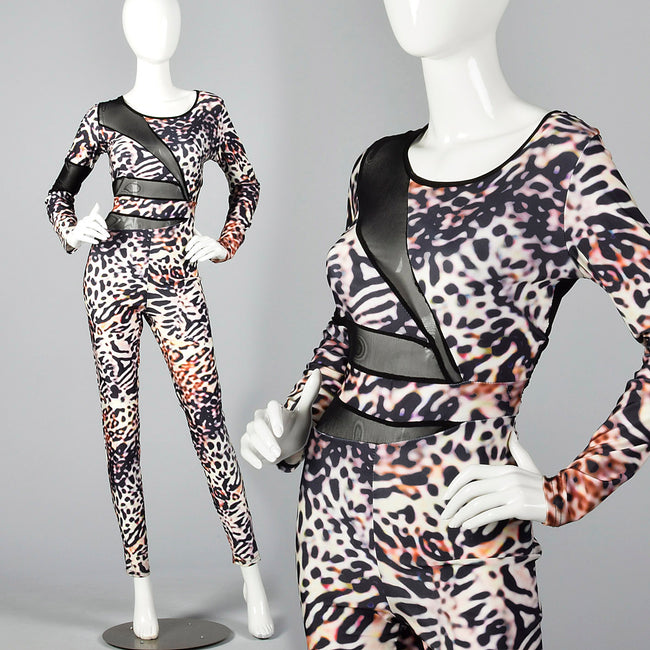 1990s Animal Print Spandex Catsuit