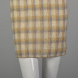 1960s Small Plaid Mohair Cheongsam Dress