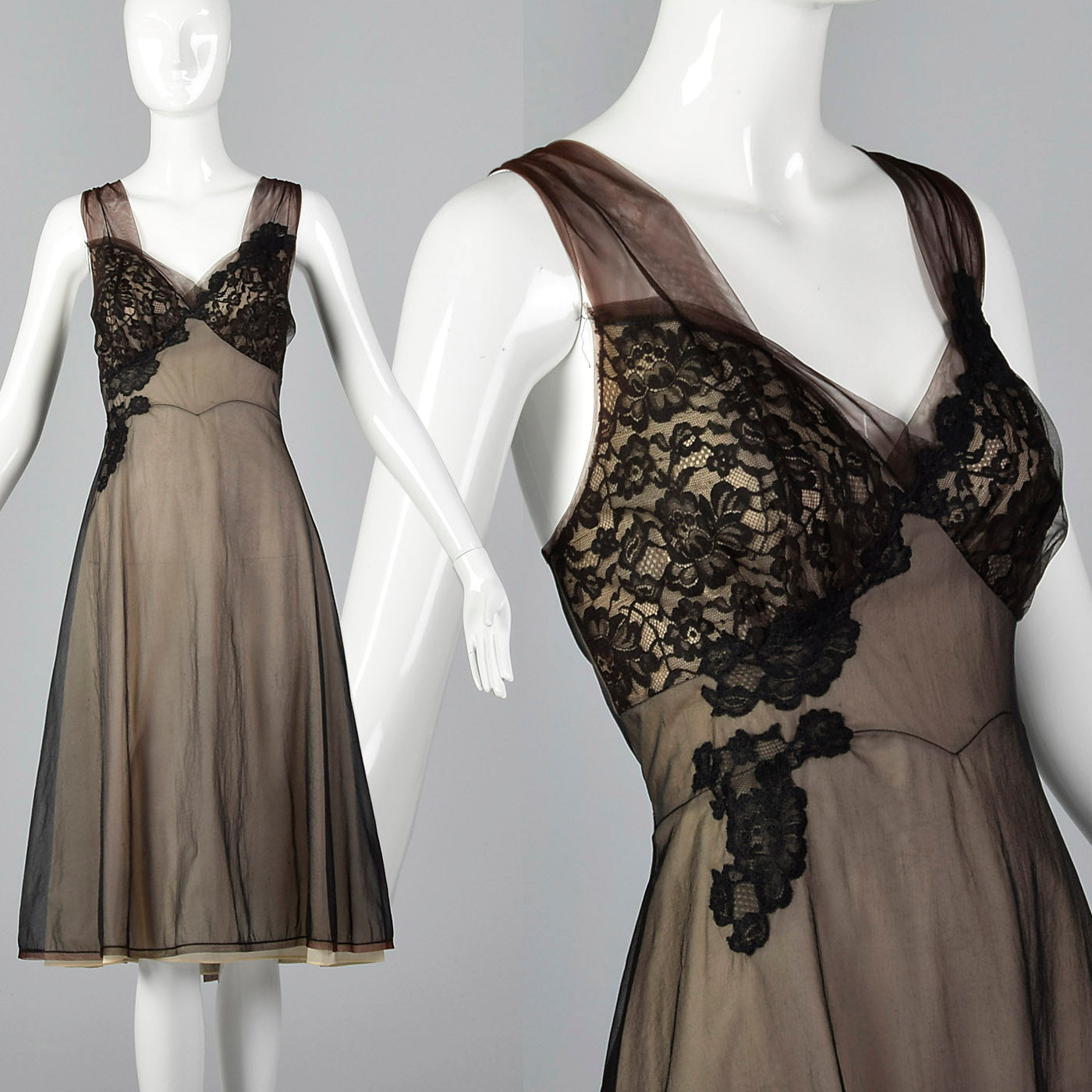1950s Black Nightgown with Black Lace Applique