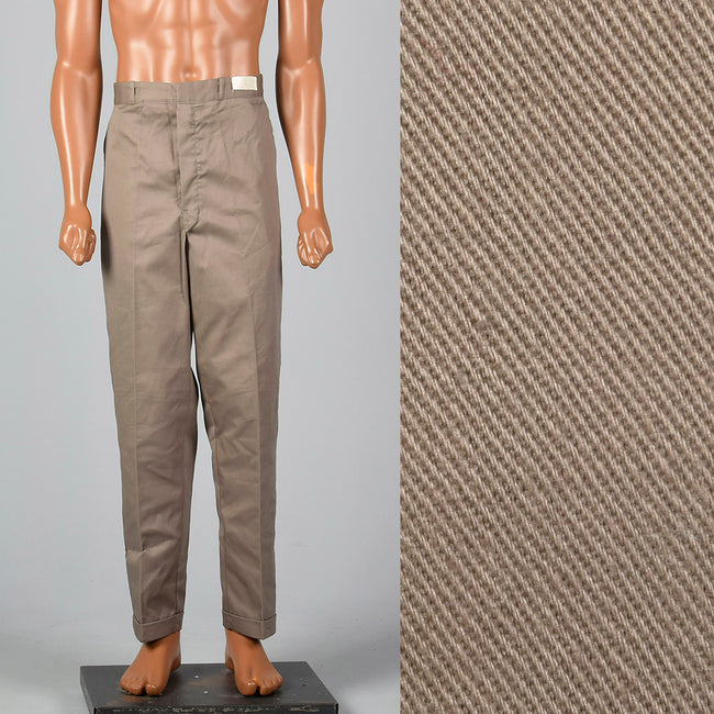 Large 1960s Deadstock Sanforized Cotton Brown Pants