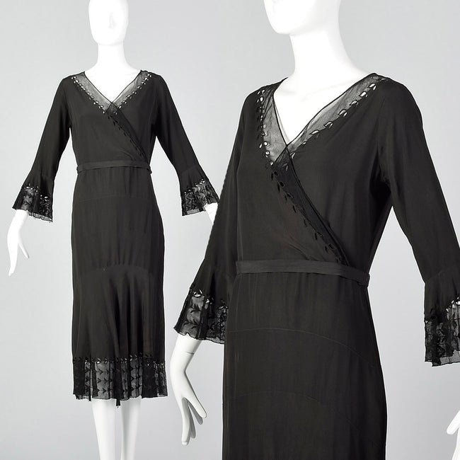 1930s Black Dress with Sheer Trim and Belt
