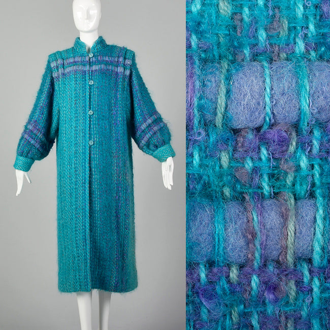 Large 1980s Teal Blue Cardigan Coat