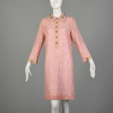 Large 1960s Mod Pink Dress Beaded Lace Long Sleeve Cocktail Party