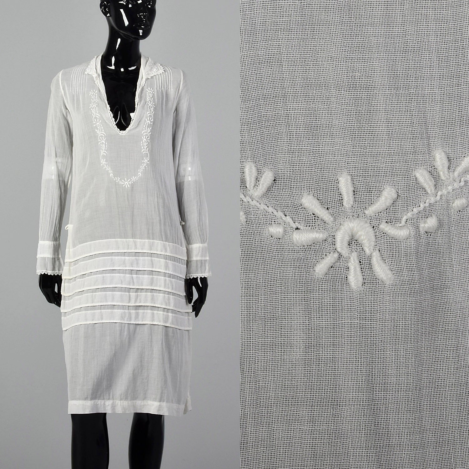 1920s Sheer White Embroidered Cotton Dress