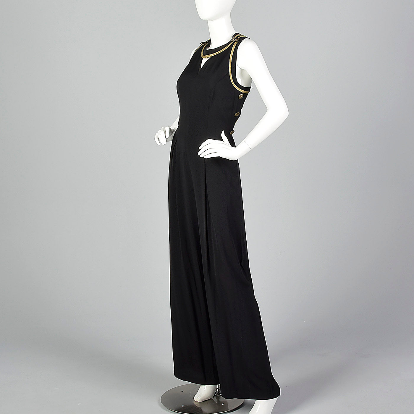 1990s Black Jumpsuit with Cut Out Back