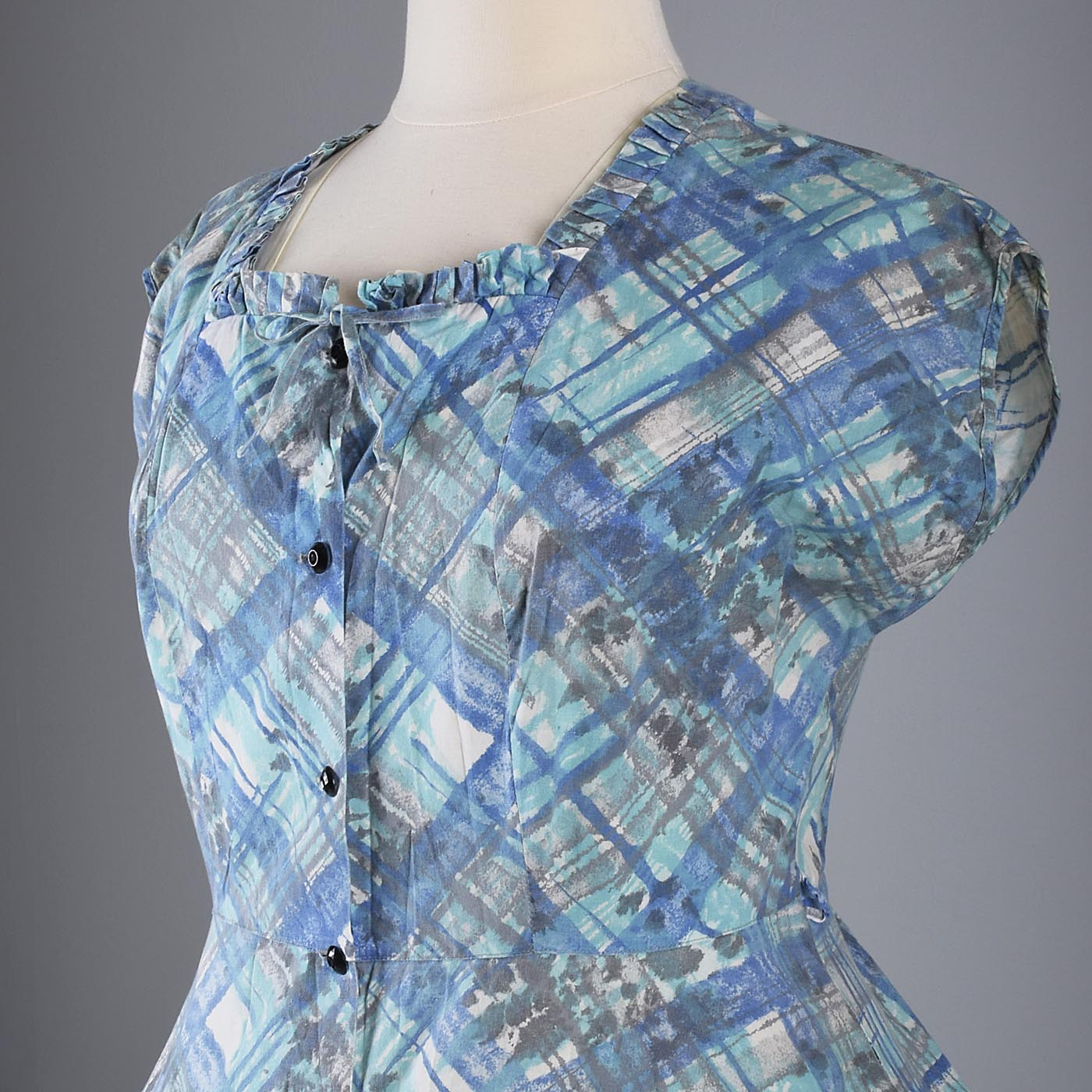 1950s Cotton Day Dress with Plaid Print
