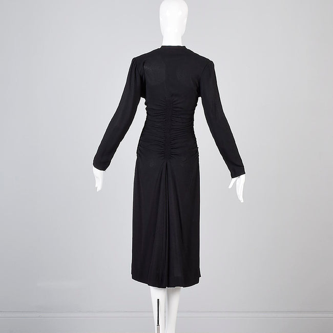 1940s Mary Muffet Black Rayon Crepe Dress