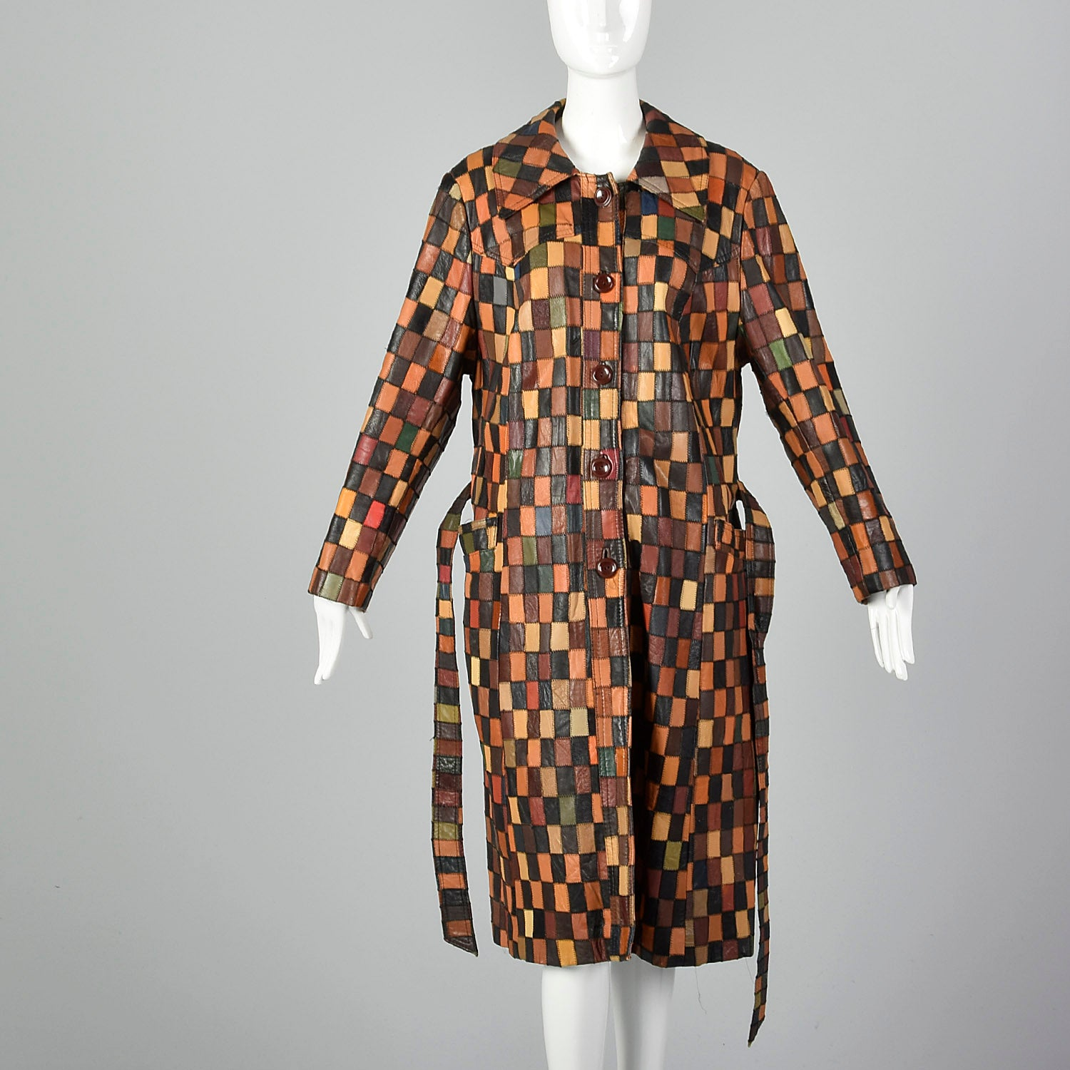 1970s Patchwork Leather Trench Coat