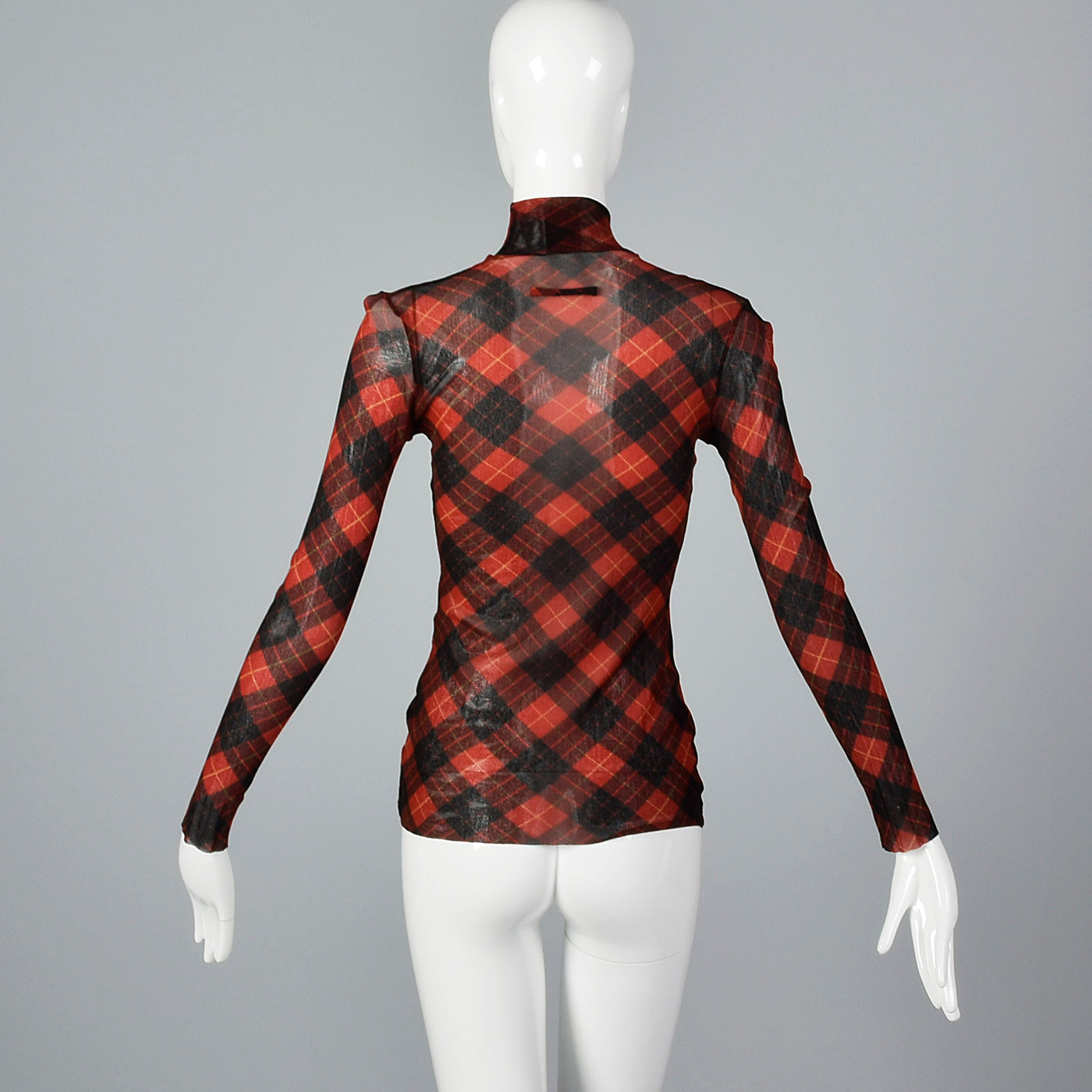 Jean Paul Gaultier Classique Tartan Plaid Stretch Mesh Top