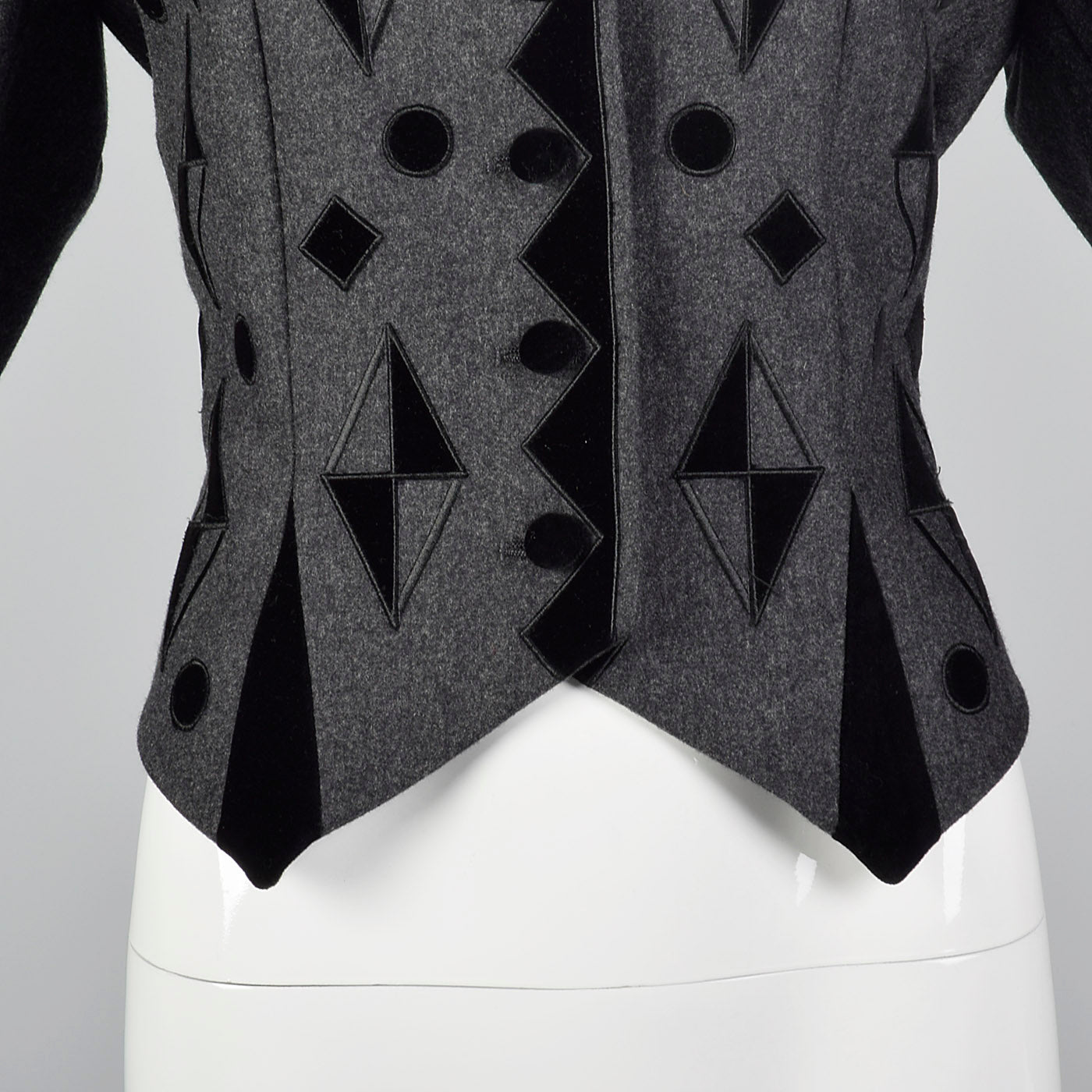 1980s Louis Feraud Gray Jacket with Geometric Velvet Appliques