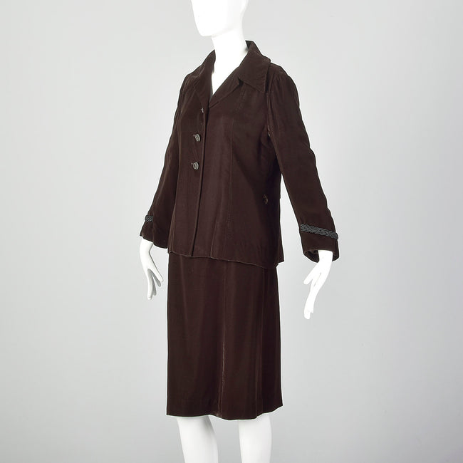 Medium Pierre Balmin 1970s Brown Velvet Skirt Suit