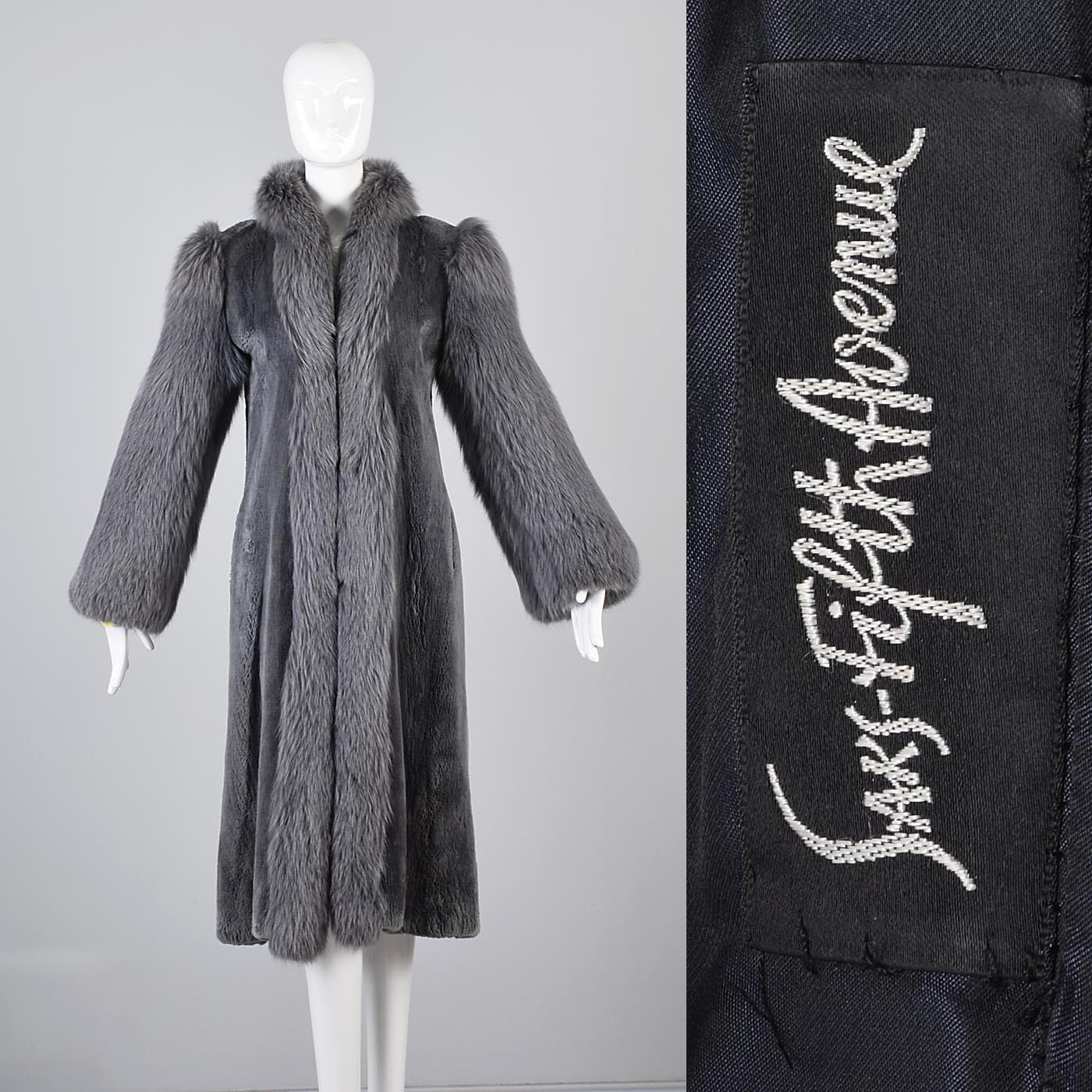 Saks Fifth Avenue Revillon Full Length Sheared Beaver Coat with Fox Fur Tuxedo