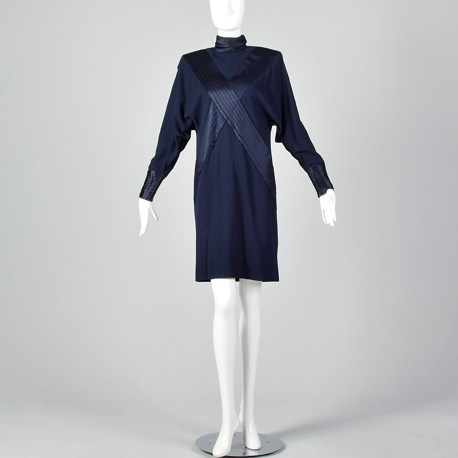 XS-Small Galanos 1980s Navy Dress