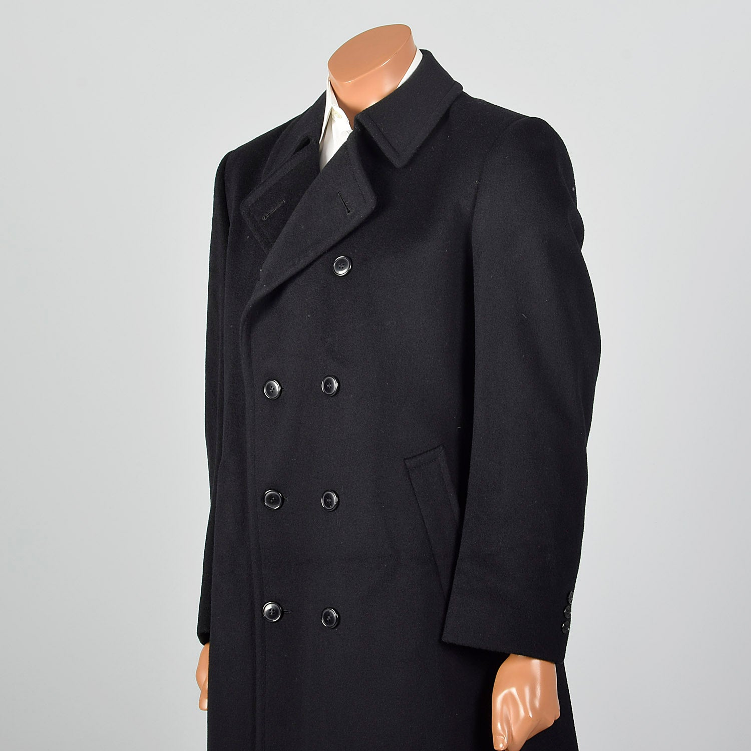 1980s Black Wool Heavy Overcoat