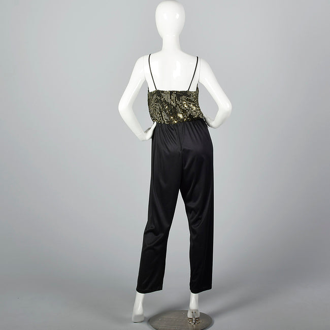 1970s Sequined Low Cut Jumpsuit