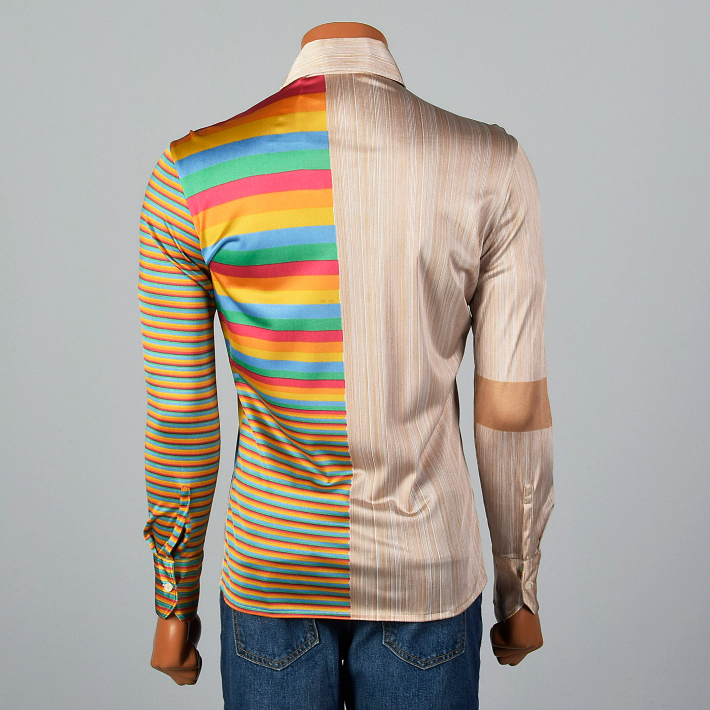 1970s Nik Nik Silky Baseball and Rainbow Print Disco Shirt