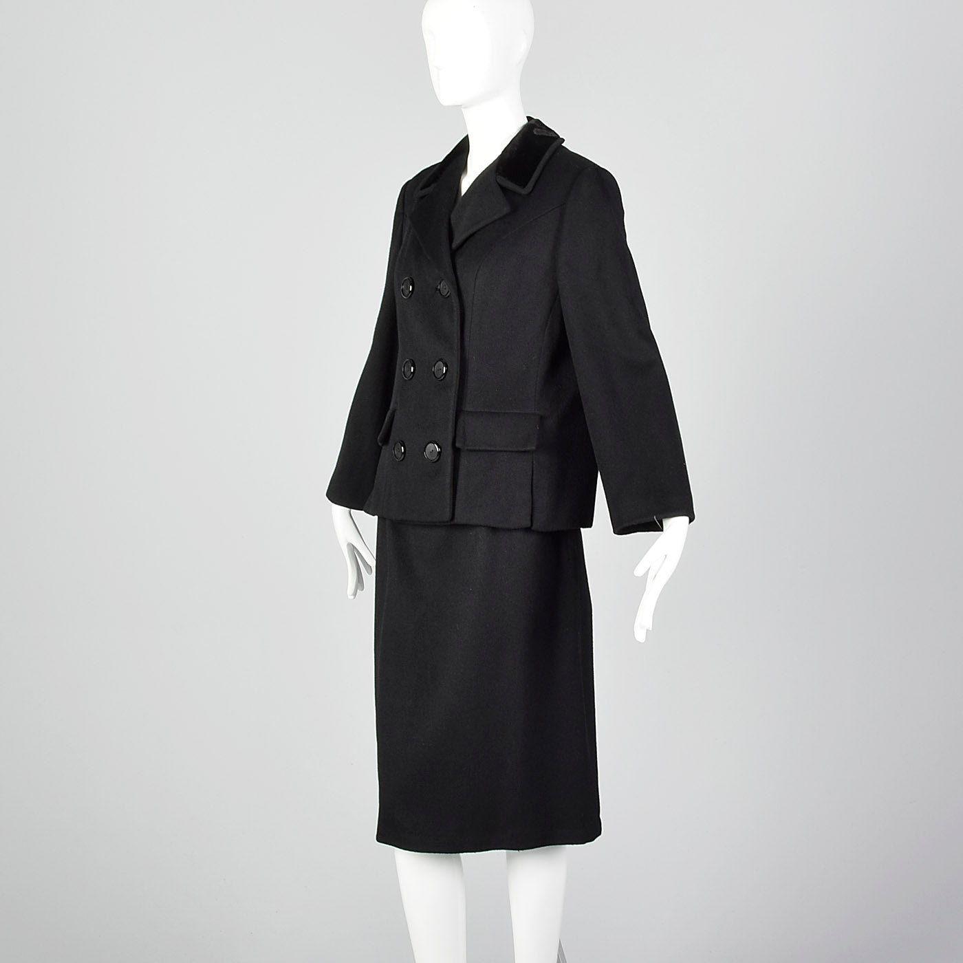 1960s Black Winter Skirt Suit with Boxy Jacket and Pencil Skirt