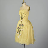 XS 1950s Yellow Rose Cocktail Dress