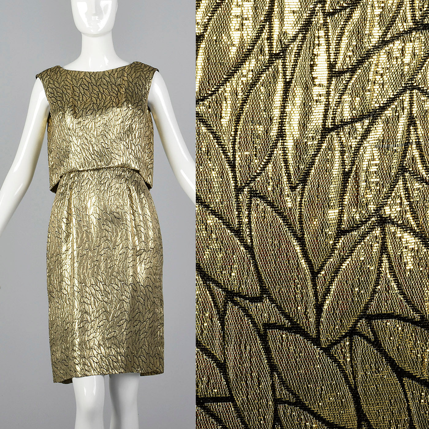 1960s Metallic Gold Dress with Leaf Style Pattern