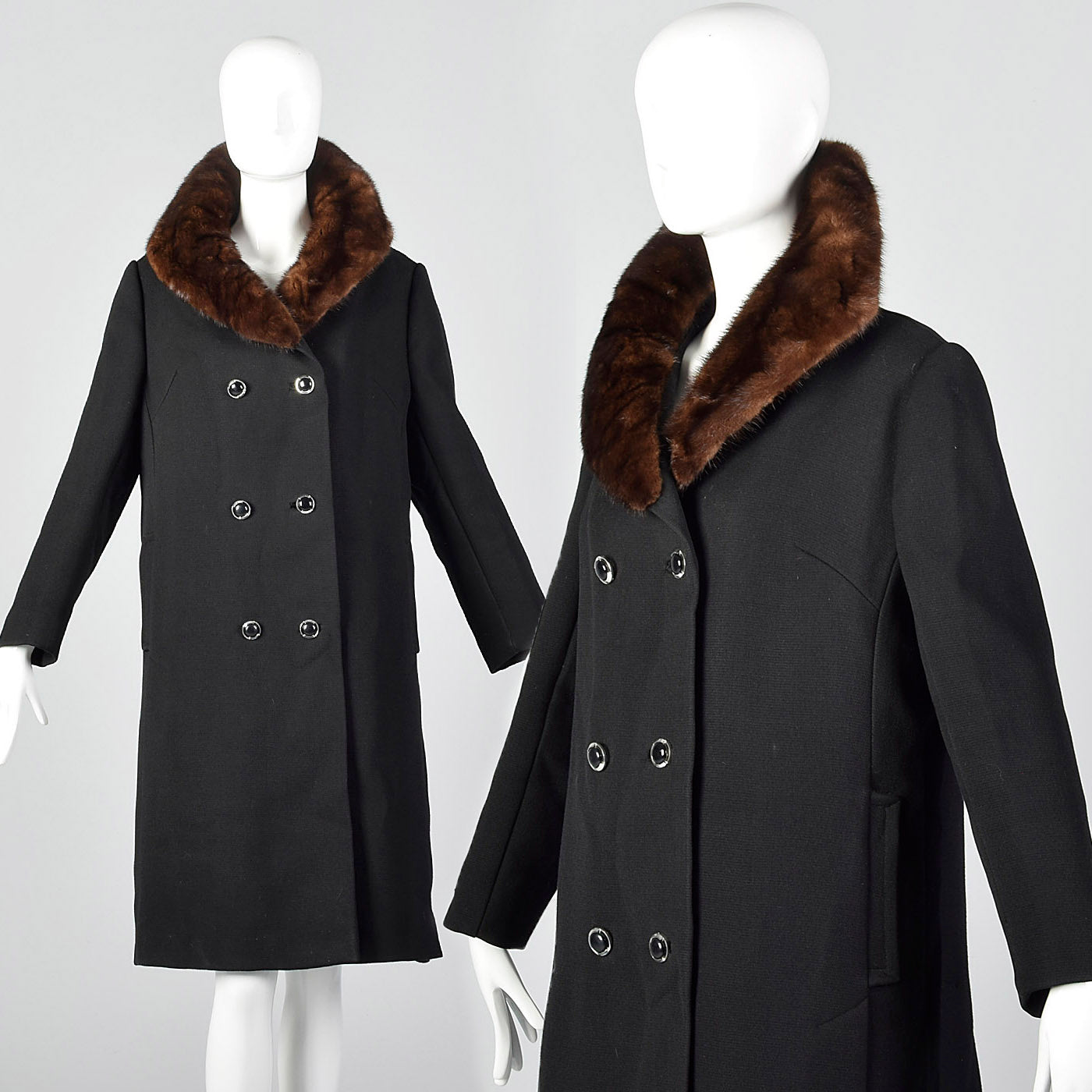 1960s Black Wool Double Breasted Coat with Mink Collar