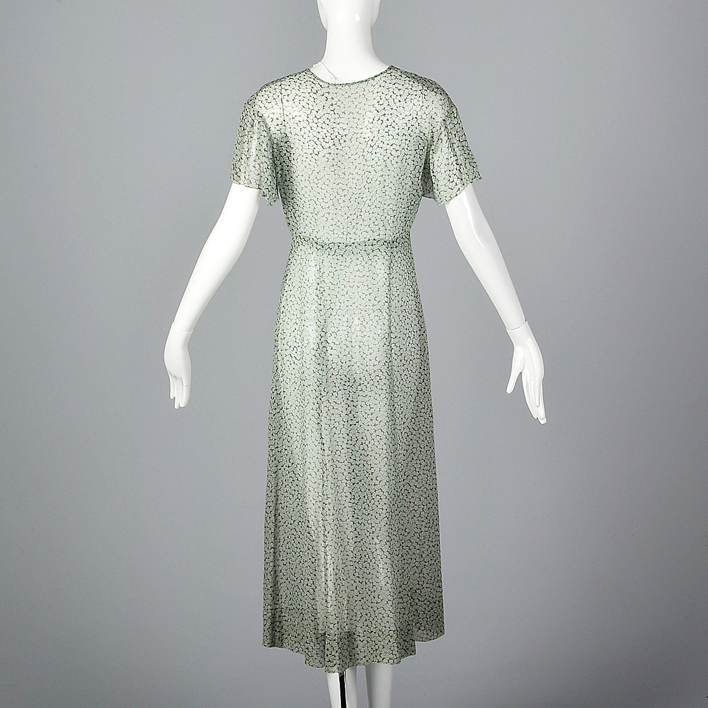 1930s Sheer Blue Silk Dress with Geometric Print