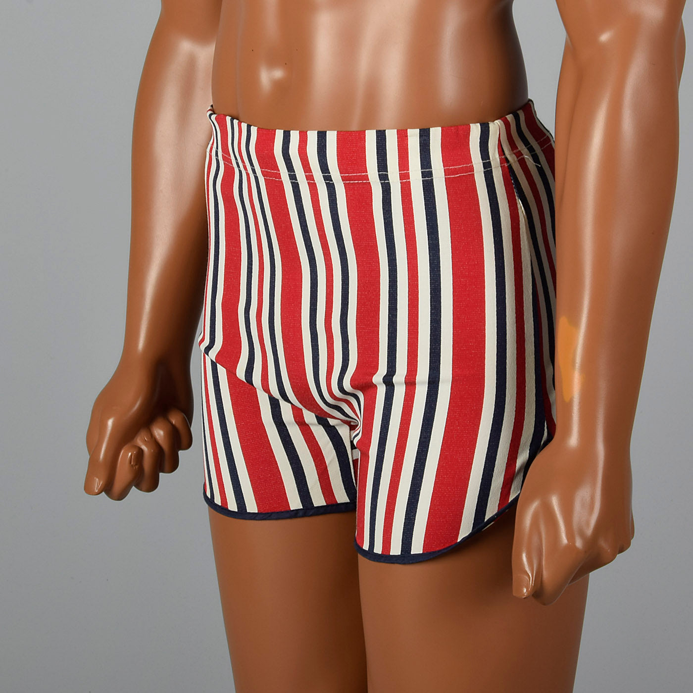 1960s Mens Swim Trunks in Red White & Blue