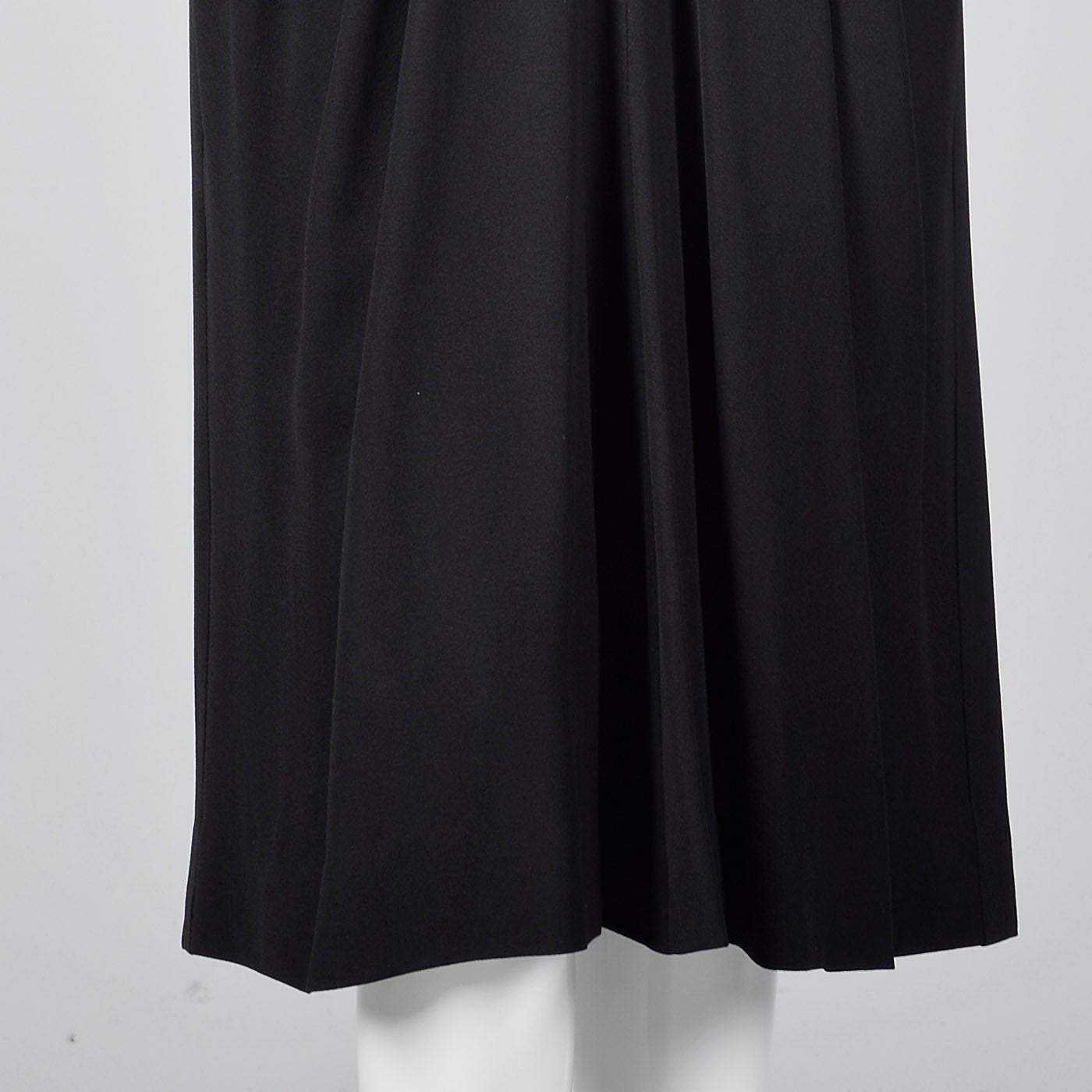 1940s Femme Fatale Black Rayon Dress with Pointed Pockets