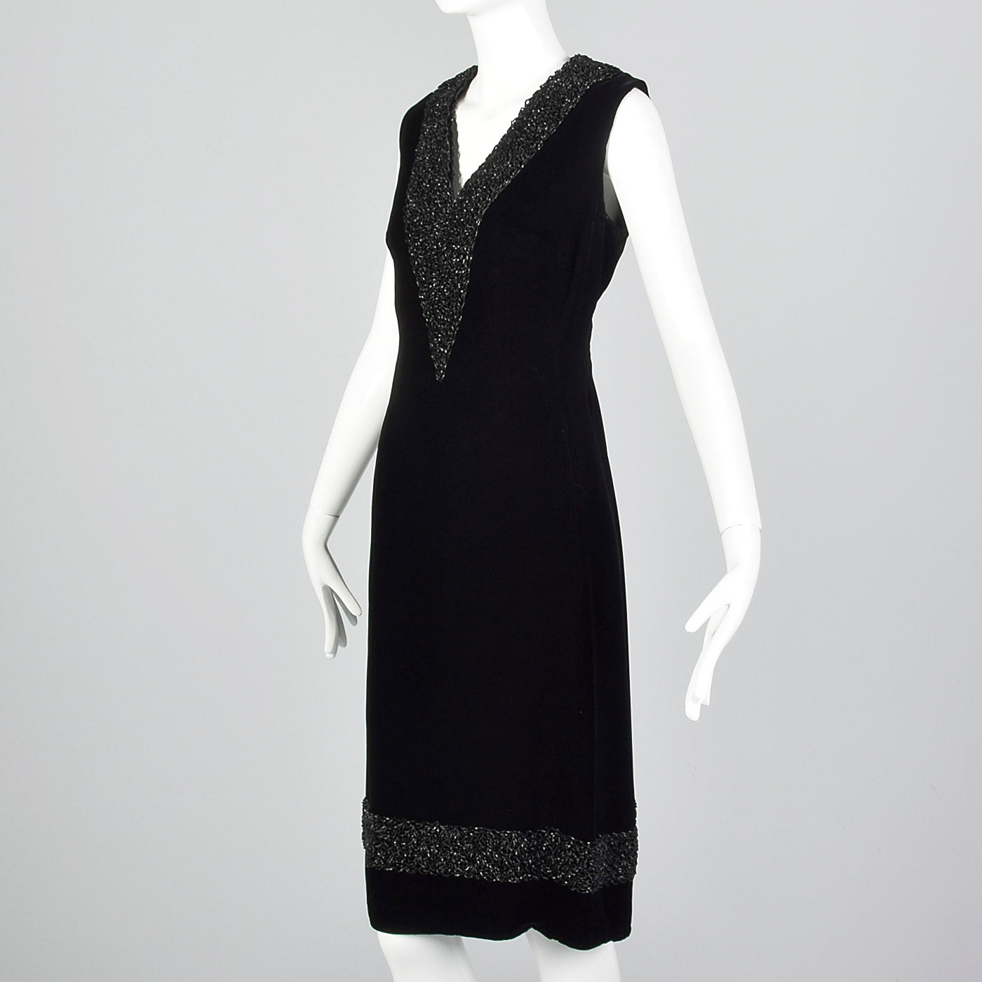 1960s Black Velvet Shift Dress with Heavy Beading