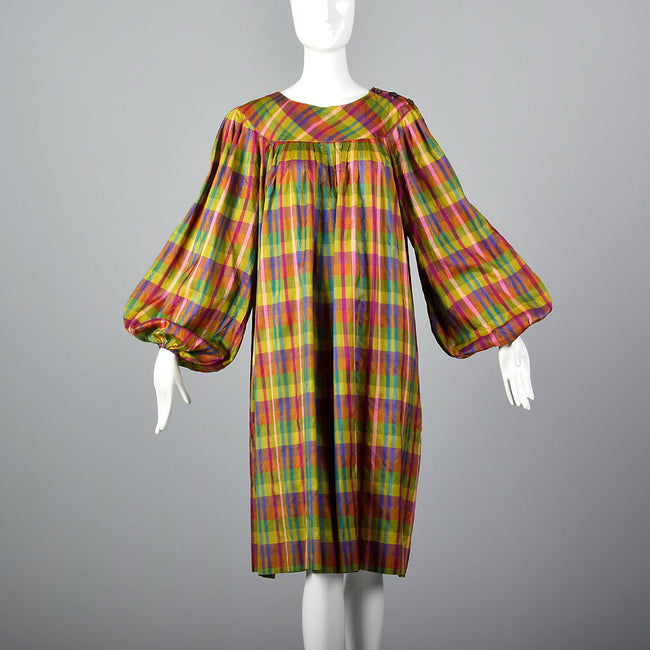 1970s Lanvin Lightweight Silk Dress in Rainbow Plaid with Huge Balloon Sleeves