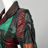 XXS 1970s Gandalf Patchwork Leather Jacket Boho Outerwear