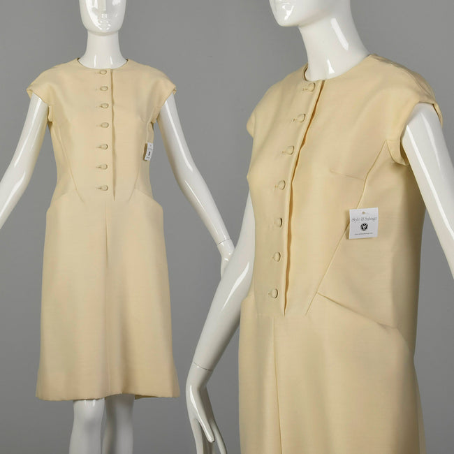 Medium 1960s Dress Suzy Perette Cream Wool Silk Sack Dress
