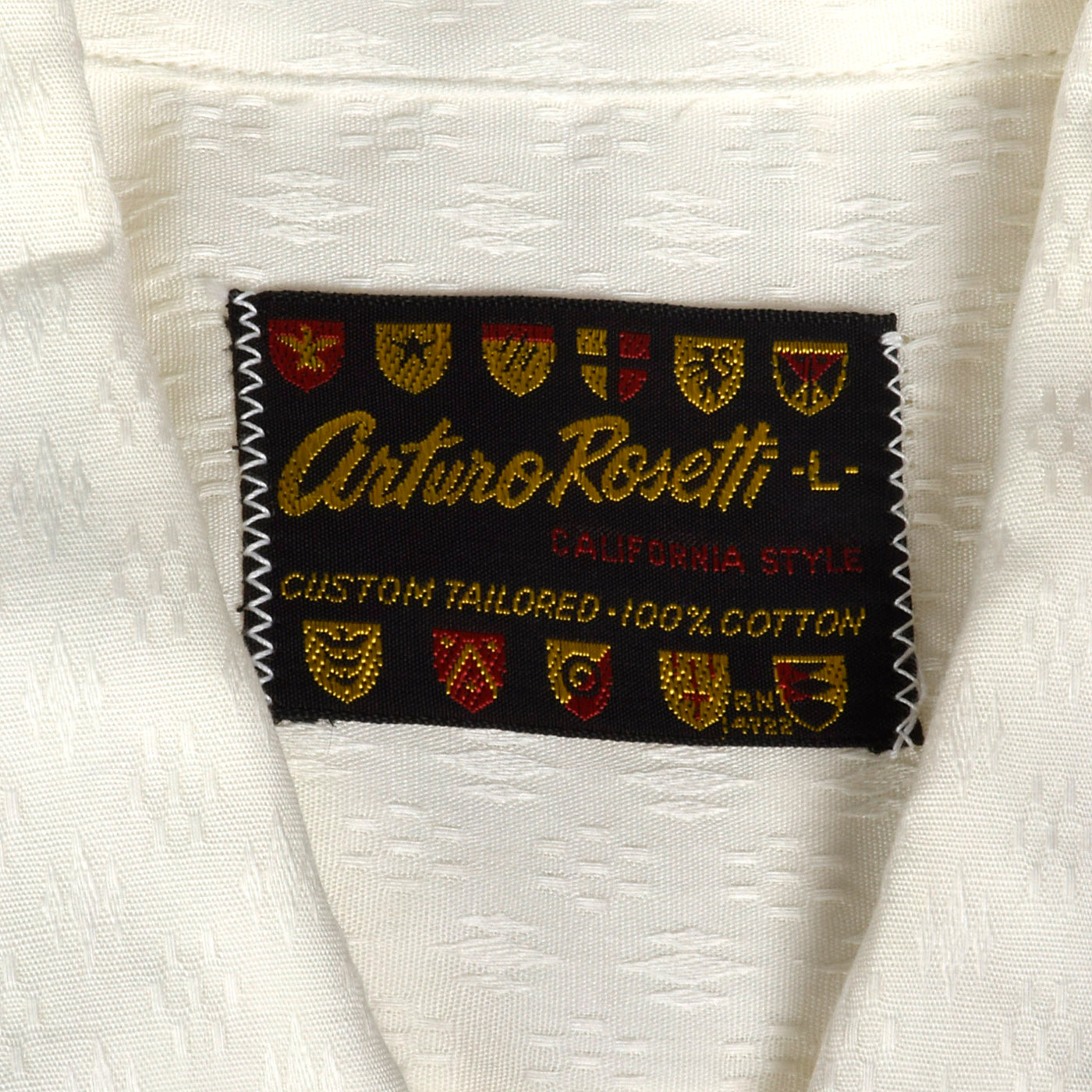 1950s Deadstock White Cotton Shirt with Loop Collar