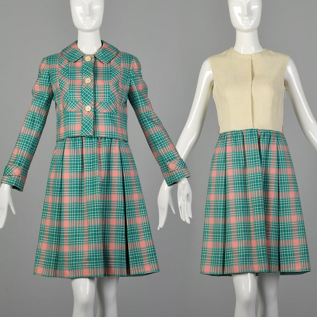 Small 1960s Green and Red Plaid Dress Set