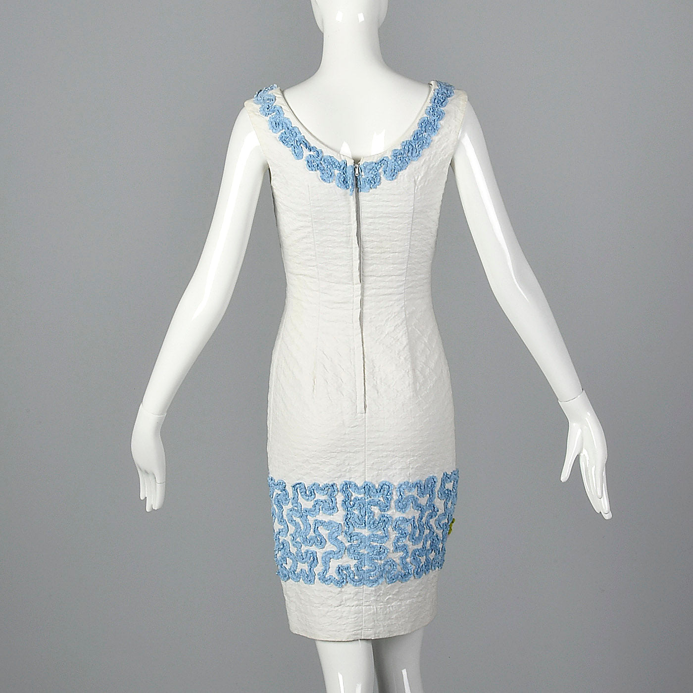 1950s Textured Cotton Dress with Soutache Trim
