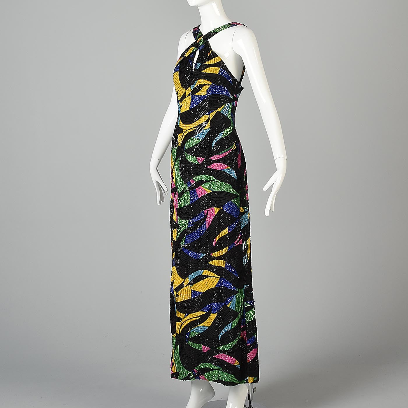 1990s Michael Novarese Abstract Beaded Formal Dress