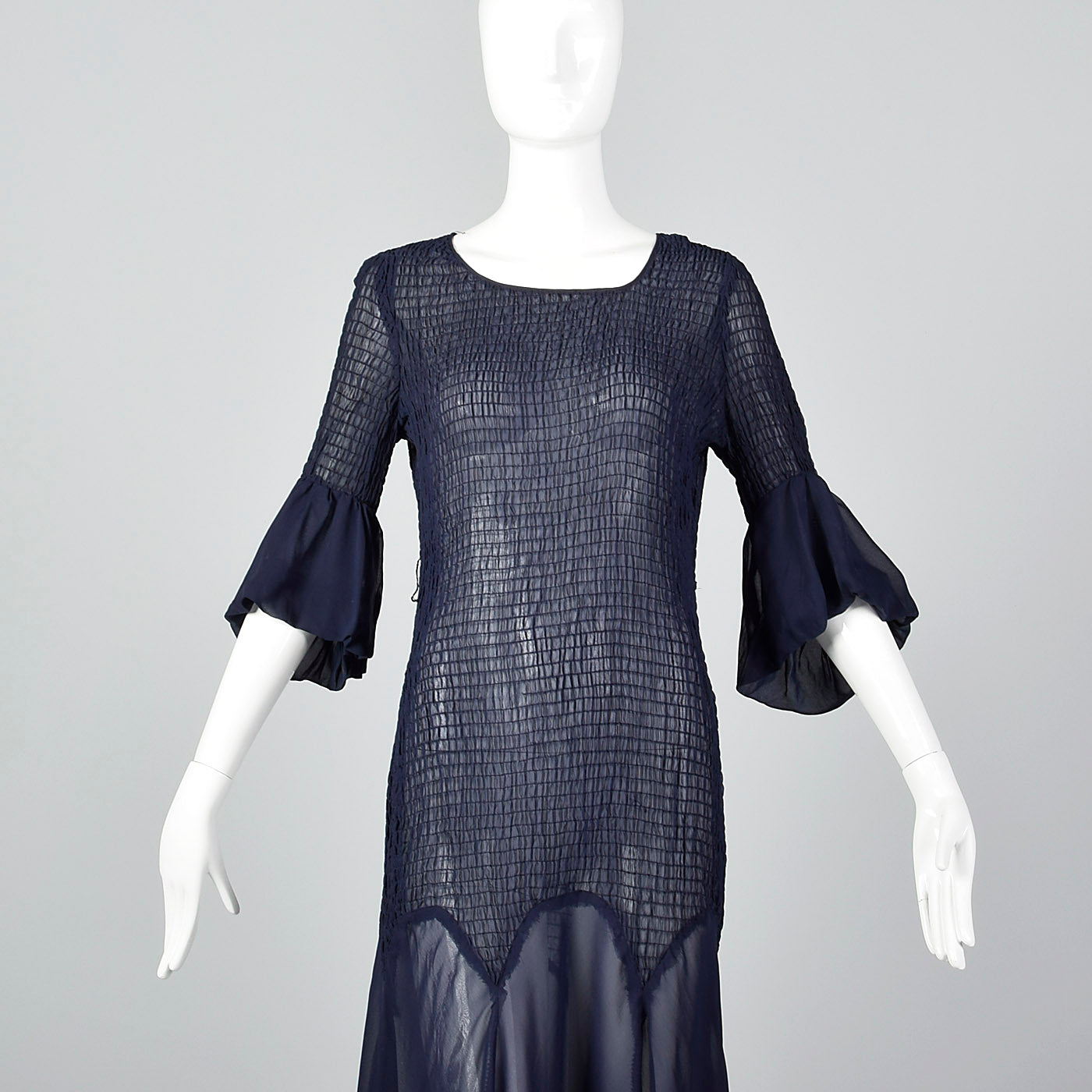 1930s Sheer Navy Blue Dress